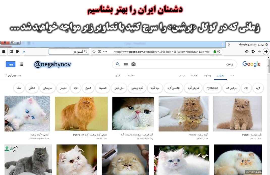جستجوی کلمه پرشین در گوگل - دشمنان ایران را بهتر بشناسیم